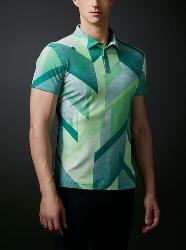 DESCENTE GOLF (デサントゴルフ)・ポリエステル裏鹿の子KAZEプリントシャツ 【UVケア】